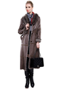 Coffee suede with faux raccoon fur long suede coat