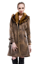 Dark coffee suede with faux brown fox fur middle suede coat