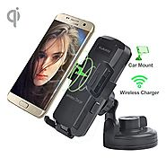 Wireless Car Charger, Car Mount Charger by Kulussy (Air Vent Mount & Dashboard Cup Holder) for all Qi Enable phones,3...