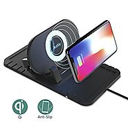 Wireless Car Charger Cell Phone Stand Qi Charger,Auckly 2 in 1 Anti-skid Pad Phone Bracket Charger, Silicone Pad Non-...