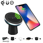 Qi Wireless Car Charger Spedal 2-in-1 Magnetic Vehicle Mount Phone Holder Air Vent or Dashboard for iPhone 8/iPhone 8...