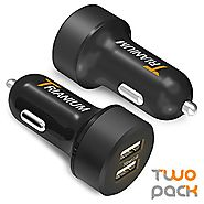 Car Charger, Trianium 24W/4.8A Dual USB Car Chargers [2Pack] AtomicDrive Smart Ports for Cellphone, iPhone 8 x 7 6s 6...