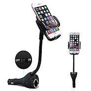 Te-Rich 3-in-1 Universal Car Mount Holder Phone Charger Cigarette Lighter Power Adapter for iPhone, Samsung Galaxy an...