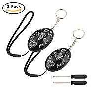 120Db,WYAO Black Printing 2 pack Emergency Personal Alarm Keychain with screwdriver for Elderly/Kids/Women/ Adventure...
