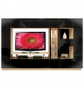 Isabella Wall Unit w Mirrored Display Glass Shelves and Lighting
