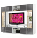 Tyler Wall Unit w Clear Glass Doors, Interior Backlight