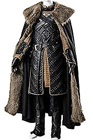 mingL Cosplay Men's Season 7 Night's Watch Jon Snow Cosplay Costume Luxurious Outfit Suit Armor Vest Cape