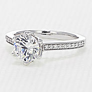 6-Prong Pave Engagement Ring (FG575)