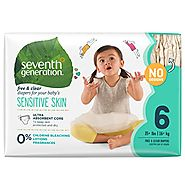 Seventh Generation Baby Diapers, Free and Clear for Sensitive Skin, Original No Designs, Size 6, 100ct (Packaging May...