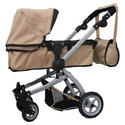 Babyboo SAND Deluxe 2 in 1 Doll Pram/Stroller with Swiveling Wheels Color SAND & BLACK with Swiveling Wheels & Adjust...