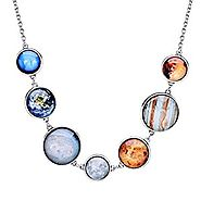 Full Moon Necklace Double-sided Planet Handmade Sun Moon Necklace Statement Space Necklace and Bracelet