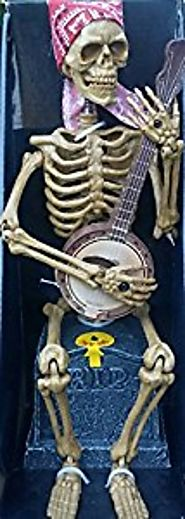 Animated Halloween Decoration Skeleton Banjo Player ( I Wish I Was In Dixie Land )
