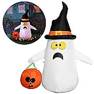 YUNLIGHTS Halloween Inflatable Decorations for Halloween 4ft Ghost with a Witch Hat Pumpkin