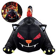 YUNLIGHTS Halloween Inflatable for Halloween Big Black Cat with LED lights Indoor and Outdoor Decorations 6 X 4 Ft