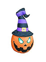 BZB Goods 4 Foot Illuminated Halloween Inflatable Jack-O-Lantern with Witch Hat Decoration