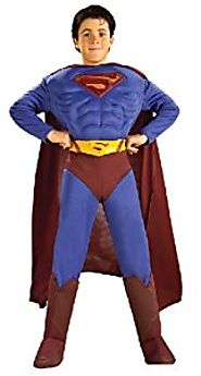 DC Comics Deluxe Muscle Chest Superman Child's Costume, Medium