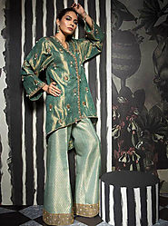 Greenish delight By Mahgul, Designer Luxury Pret - FABBITT