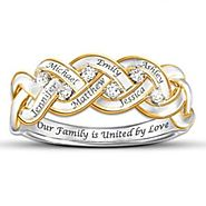 """Our Family is United by Love"" Diamond Ring with Names"