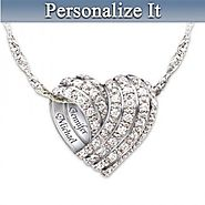 Diamond Heart Necklace with Couple's Names