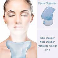 Facial Face Nose Steamer Pores Mist Steam Sprayer Spa Sauna Skin Renewal-with Fragrance Aromatherapy Function (Blue) ...