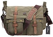 Iblue Vintage Canvas Cross Body Laptop Messenger Bag College Bookbags for Men Womens Leather#2138( army green,XL)