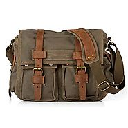Berchirly Vintage Men Women Canvas Military Messenger Bag Army Green Fits Laptop Tablet Macbook