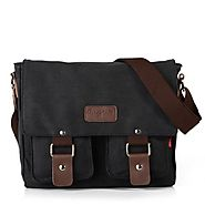 EcoCity Vintage Canvas Hiking Traveling Satchel Messenger Bag Crossbody Bags MB0030B1 (Black)
