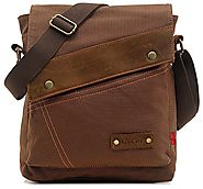 EcoCity Vintage Small Canvas Messenger Bag Shoulder Bag iPad Bags For Men & Women MB0002C2 (Coffee)