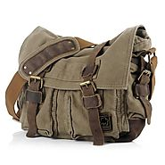 EcoCity Military Soft Feeling Canvas Shoulder Messenger Bag with Leather Straps - 3 Version (X-Large, Army Green)