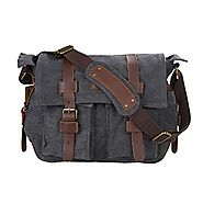 "Kattee Unisex's Classic Military Canvas Shoulder Messenger Bag Leather Straps Fit 16"" Laptop (Dark Gray)"