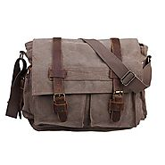 "HDE Men's Canvas Leather Messenger Bag Vintage Military Style Shoulder Satchel 13.5""-15.5"" Laptop Bookbag"