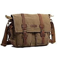 "Kattee XZ162AG-FBA-1 British Style Retro Unisex Canvas Leather Messenger Shoulder Bag Fits 14.7"" Laptop, Army Green"