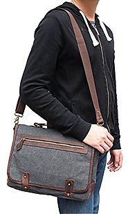 CLELO B450 Vintage Leather Canvas Messenger Bag Briefcases Shoulder Cross-body Bags,Grey