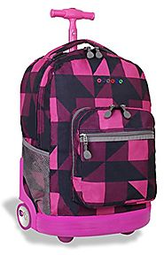J World New York Sunrise Rolling Backpack, Block Pink