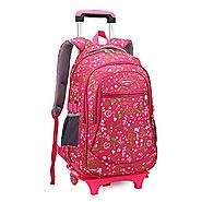 Cute Girls Waterproof Nylon School Backpack Schoolbag with Wheels