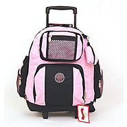 Cute Pink and Black Wheeled BackPack with Bonus