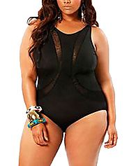 Cfanny Women's Plus Size One-piece Swimwear with Mesh,Black,Large