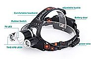 Cage Sents 5000 Lumen Bright Headlamp Flashlight, 3 CREE T6 LED Headlight Torch with Rechargeable Batteries and Charg...