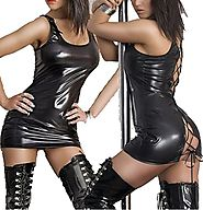 QinYing Wet Look PVC Leather Black Lace up Fancy Mini Dress, One Size