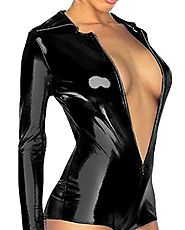 Amour- Sexy Gothic Punk Zipper Front Wetlook Romper Overall Teddy Stripper (DS1189), Black, One Size Fits XS to M