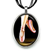 Pendant Necklace Handmade Jewelry Original Art Painting Organza Ribbon Necklace by Artist Carly Landry (Her Shoes)