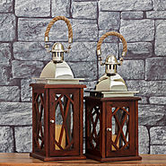 Morning Mist Wooden Lantern | Set of Decorative Candle Holders