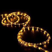 WYZworks 25' feet Orange / Amber LED Rope Lights - Flexible 2 Wire Accent Holiday Christmas Party Decoration Lighting