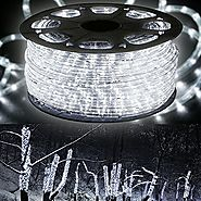 "WYZworks 150' feet Cool White 3/8"" LED Rope Lights - Crystal Clear PVC Tube IP65 Water Resistant Flexible 2 Wire Acce..."
