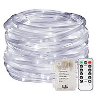 LE 33ft 120 LED Dimmable Rope Lights, Battery Powered, Waterproof, 8 Modes/Timer, Fairy Lights for Garden Patio Party...