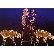 "68"" Nativity Shepherd and Sheep Silhouette Lighted Wire Frame Christmas Yard Art"