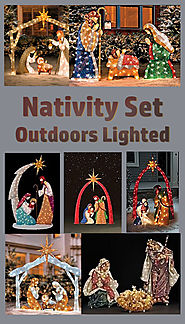 Nativity Set Outdoors Lighted