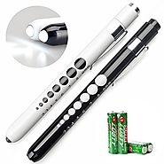 Opoway Nurse Penlight with Pupil Gauge Medical Pen Light for Nurses Doctors with Batteries Included 2ct. White and Black