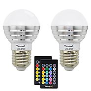 Yangcsl Remote Control 3W LED RGBW Color Changing Light Bulb,RGB + Daylight White (Pack of 2)