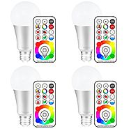 Yangcsl E26 Dimmable Color Changing LED Light Bulbs with Remote Control, Memory & 3-Way, Daylight White & RGB Multi C...